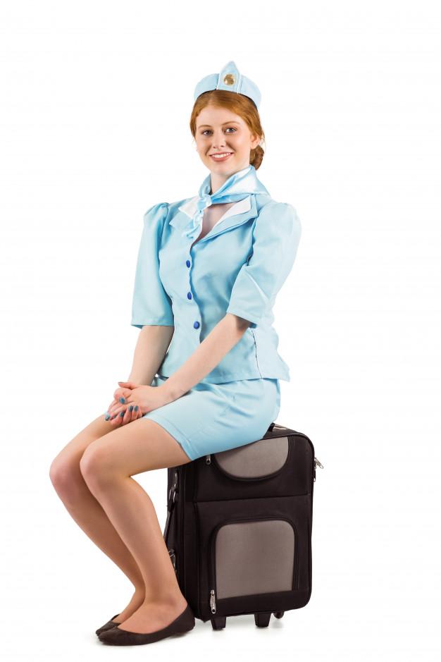 Schwedische Stewardess benutzt Hinterteil